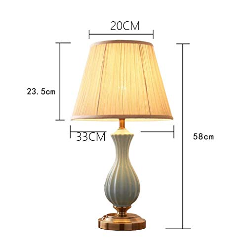 AOLI Tischlampe chinesischen High-End-Wave-Muster Keramik Tischlampe Schlafzimmer Nachttischlampe warme Wohnzimmer Lampe, blau, H58Cm * W33Cm (Edition: A),A -