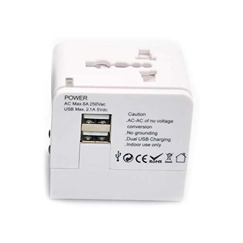 0 ℃ Outdoor Internationaler All-in-One-Adapter für Reiseadapter, weltweiter Reiseadapter, mit Zwei USB-Ports und Universal-AC-Buchse Geeignet für jedes Land, in das Sie gehen,White