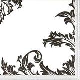 60 Servietten Luxury Schwarz / Silber 33 x 33 cm 3 lagig, Lunch Servietten Tissue Design Servietten für Party, Frühstück, Kaffee, Kuchen, Anlass und Deko und gedeckter Tisch