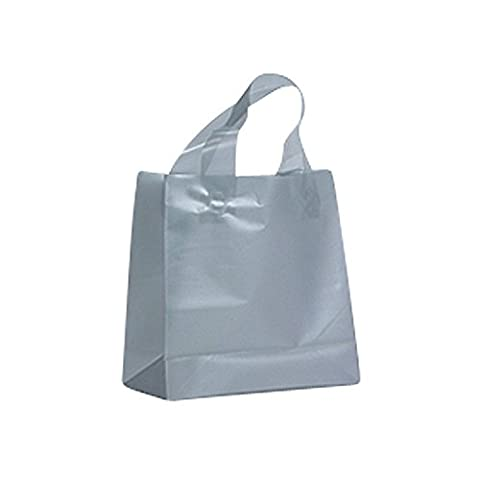 FROSTED PLASTIC BAGS WITH SOFT HANDLES - SILVER BIO LOOP HANDLE BAG PACK OF 50