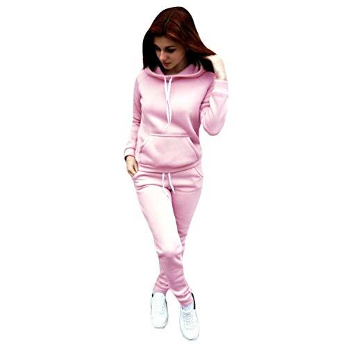 Dooxii Damen Herbst Langarm Hoodie Sportanzug Trainingsanzug Sweatshirt Hose 2pcs Sportbekleidung Jogginganzug Pink XS