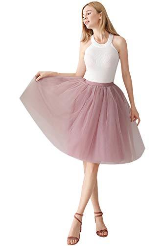 MisShow Mädchen Tüll Rock Unterrock Petticoat Rosa C