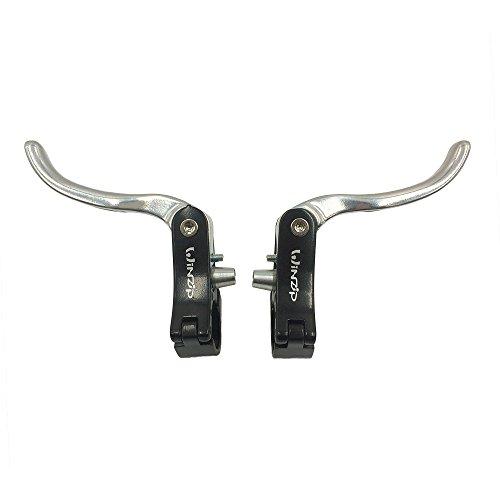 UPANBIKE supplémentaires Ensemble de leviers de Frein pour Vélo de Route Barre en Alliage d'aluminium 22,2mm 23,8mm, 22.2mm Black+Silver