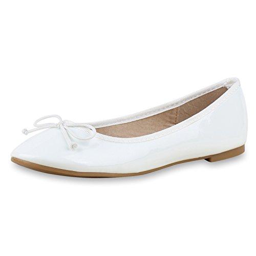 napoli-fashion - Ballerine Donna , bianco (bianco di vernice), 39 EU