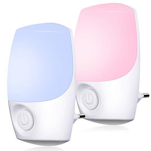 Nachtlicht Steckdose Farbe ausgewählt,Emotionlite Farbrotations LED Nachtlicht,Dämmerungssensor,Wählen Sie Mehrfarbig Warmweiß durch Schalter.Nursery Decor, Kinderzimmer, Schlafzimmer,2 Stück -