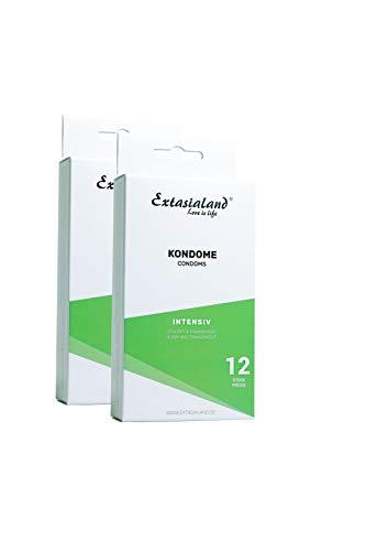 Extasialand 2x 12er Intensiv Marken-Kondome mit Noppen im Spar Angebot - Sex Markenprodukt Condome im Doppelpack