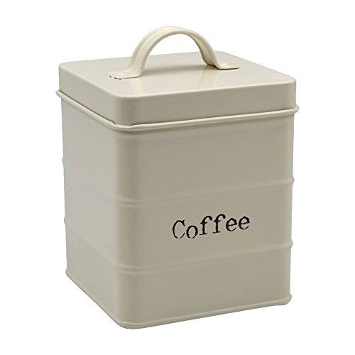 Kaffeedose aus Metall- Cremefarben