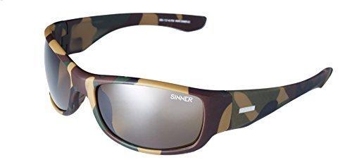 Sinner Hudson Sport Umwickeln Sonnenbrille in matt braun Tarnmuster/Sintec Braun Blitz verspiegelte Linse