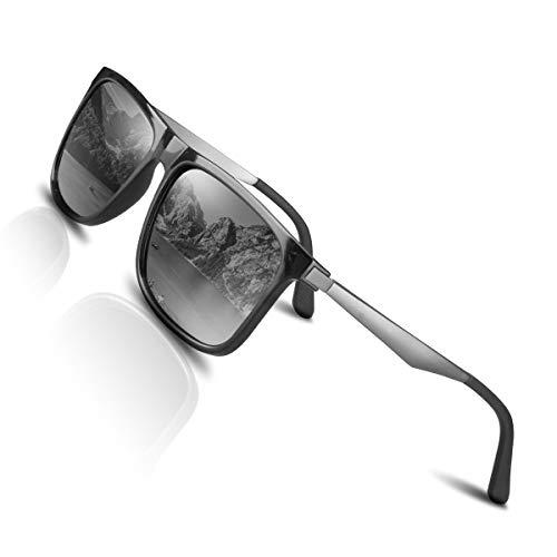 CHEREEKI Polarisierte Sonnenbrille UV400 Retro Vintage Brille für Herren und Damen (Silber)