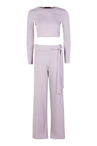 Gris Femmes Fleur Crop Top And Tie Waist Wide Leg Knitted Set Gris