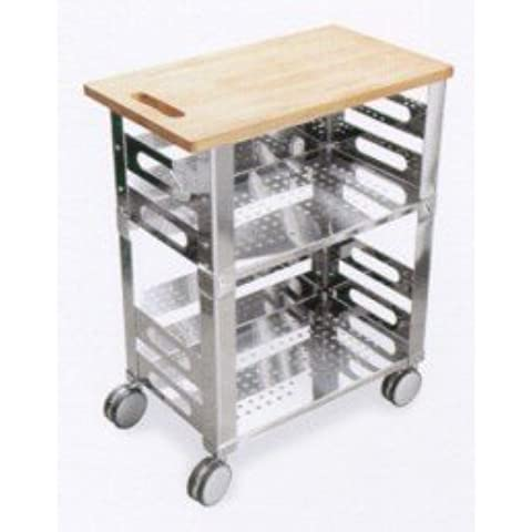Graepel High Tech p.u.b. Kitchen Trolley de acero inoxidable con madera Tabla de cortar