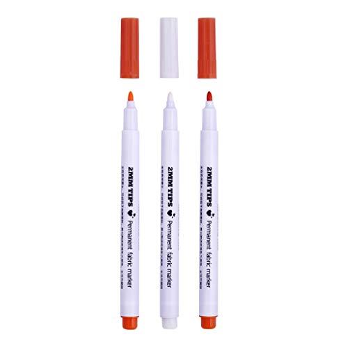 P Prettyia 3 Pcs Stoff Marker Stifte Kreidestifte Fabric Maker Pens - Orange Weiß - für Namensschilder Label Kleidersack