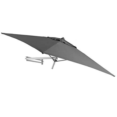Easysol Wandschirm Sonnenschirm Wandtattoo 200x 200cm-AMPELSCHIRM neigbar mit Wandhalterung-Sonnenschirm quadratisch, alu