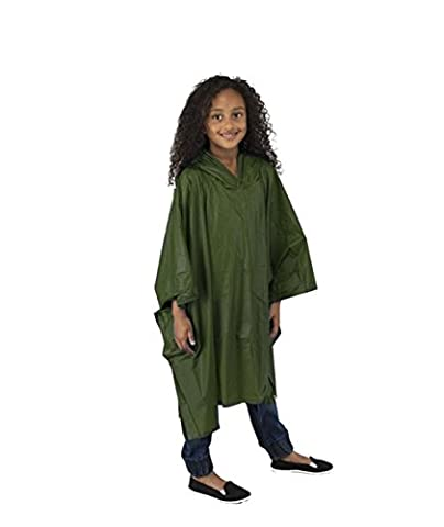 Child Waterproof EVA Rain Poncho with Hood - Green