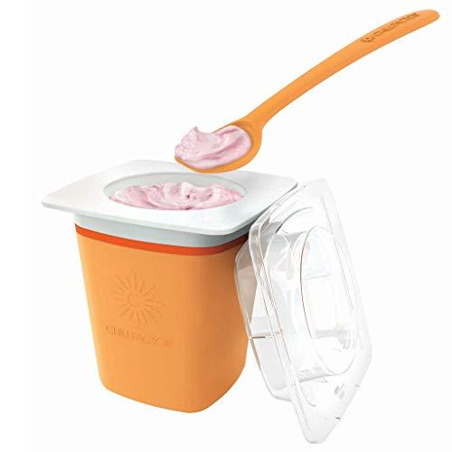 Eis Maschine für Zuhause für Kinder in Orange | 300ml XXL Ice Cream Maker | Eis selber machen | Eismaschine & Frozen Joghurtmaschine Alternative