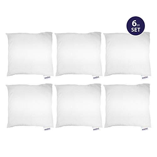 Merino-Betten 6er Set Kissen 50x50 | Kopfkissen | Sofakissen | Füllkissen mit Reißverschluss (weitere verfügar) (Tag Bett-kissen-set)