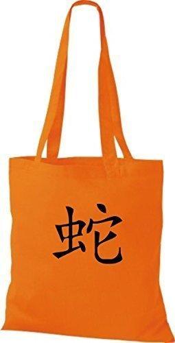 Borsa In Stoffa Tinta Unita Borsa In Cotone Con Stampa Caratteri Cinesi, Vari Colori Arancio