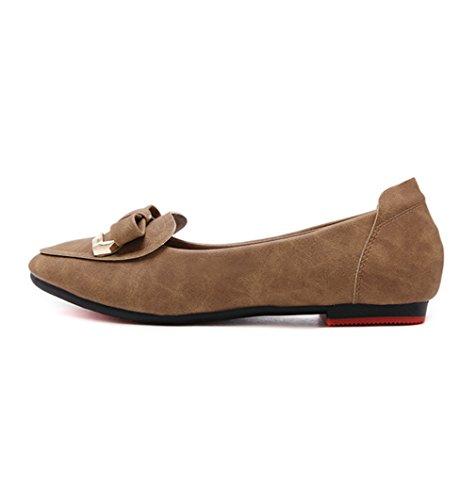 Damen Slipper Nubukleder Spitz Zehen mit Schleife Verziert Süß Einfach Rutschhemmend Weich Atmungsaktiv Bequem Schuhe Khaki