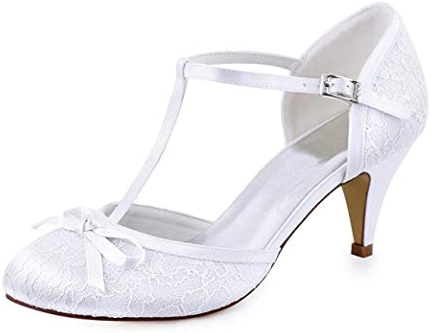 ZHRUI Ladies Knot Retro Lovely bianca Lace Wedding T-Strap T-Strap T-Strap scarpe UK 6 (Coloreee   -, Dimensione   -) | Aspetto estetico
