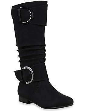 Stiefelparadies Klassische Damen Stiefel | Langschaftstiefel Velours | Schnallen Schuhe Blockabsatz | Damenstiefel...