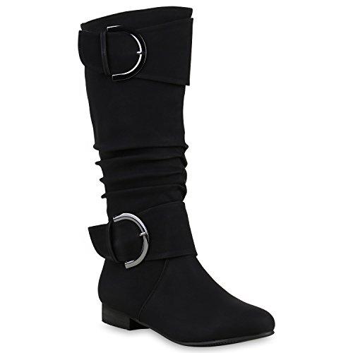 Stiefelparadies Damen Klassische Stiefel mit Blockabsatz Schnallen Flandell