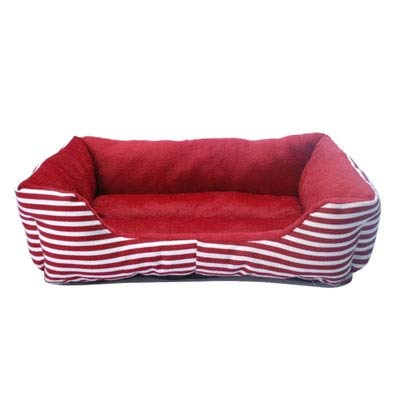 YZYSM Fashion Striped Small Dog Beds Canvas Fleece Warm Winter Cat Bed Waterproof Bottom Dog Sofa Beds M Red Canvas Fleece