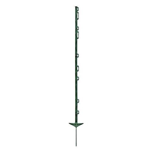 20x piquets de clôture électrique, 125cm, 3 oilletons pour rubans + 6 oilletons pour cordes de clôture, couleur verte