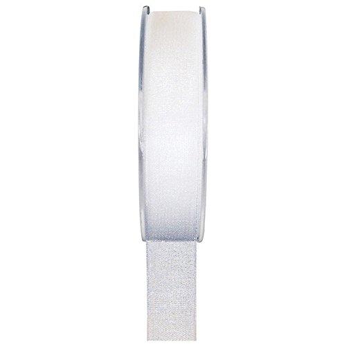 Einfarbiges Organza Deko-Band 40 mm weiß