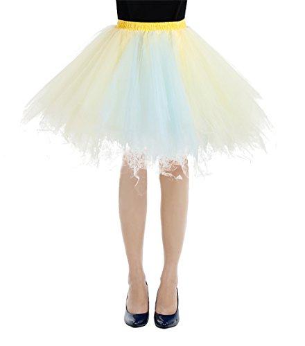 Bbonlinedress Kurz Retro Petticoat Rock Ballett Blase 50er Tutu Unterrock Champagne-light Blue - 1950 Kostüme S