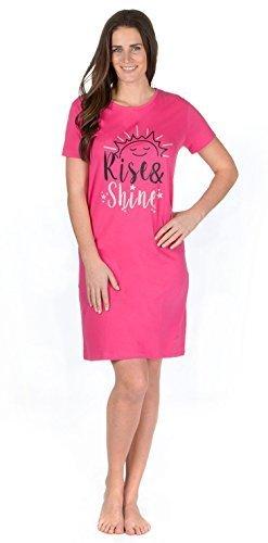 Damen Kurzärmliges Trikot Spaß Aufdruck Nachthemd Nachthemd nachthemd Nachtwäsche - HOT PINK GEHOBEN & GLANZ, 20-22 (Pink Hot Glanz)