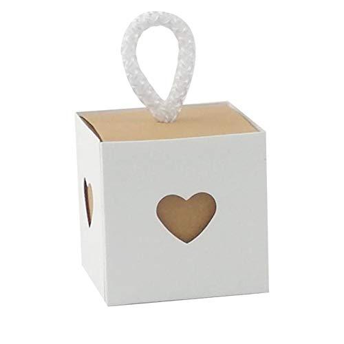 Süßigkeiten Geschenkbox Weiß Vintage Kraftpapier Candy Box Süßigkeiten Verpackung Schokolade Schmuck Kleine Geschenkbox Pralinenschachtel 50 Stücke