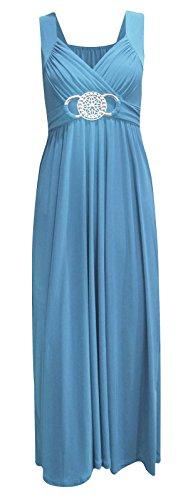 NEW dernière pour femme Fête Soirée Cocktail Mesdames longue boucle Soirée Maxi robe bleu sarcelle