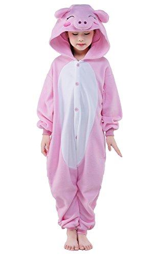 Canasour Karton Pyjama Kinder Jumpsuit Erwachsene Schlafanzug Unisex Cosplay Kostüm (Pink Pig, 95: 105-104cm) (Teen Pig Kostüm)