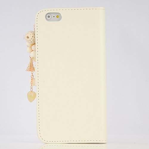 Coque iPhone 6 Plus / iPhone 6S Plus Mavis's Diary Étui en Cuir Coque de Protection Housse Portefeuille Étui à Rabat Support Flip Phone Case Cover Blanc Bling Strass Perle Fleur Frange Blanc