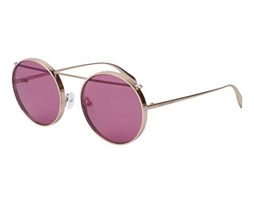 Alexander McQueen Sonnenbrillen (AM-0137-S 005) gold - pflaumenfarben - verspiegelt