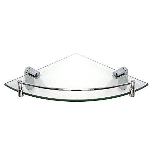 modona Ecke Glas Regal mit Schiene – poliert chrom – oval Serie – 5 Jahr Vorteil