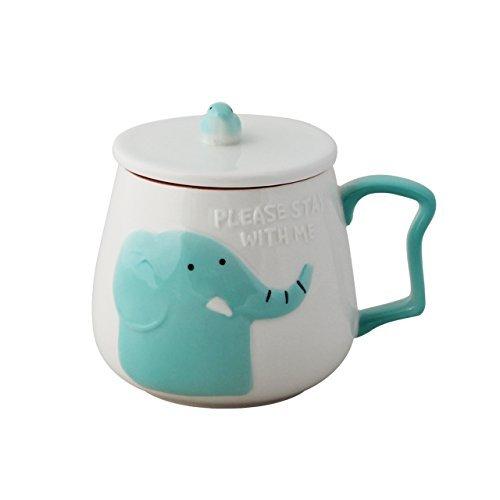 Mug en céramique Upstyle motif animal mignon de dessin animé pour café, lait. Convient également comme tasse à thé avec couvercle 391,2 g (400 ml), A054