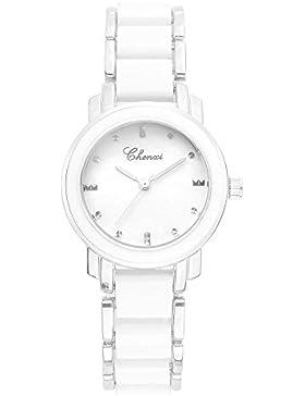 Einfach Exquisit Perlmutt Keramik Uhrenarmband Armbanduhren für Damen Herren, Silber-Weiß
