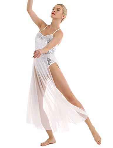 iEFiEL Damen Tanzkleider Latein Lyrischen mit Lange Mesh Rock Pailletten Kleid Party Trägerkleid Ballettkleid Ballettanzug Leotard Weiß Medium (Tanz Kostüm Lyrischen)