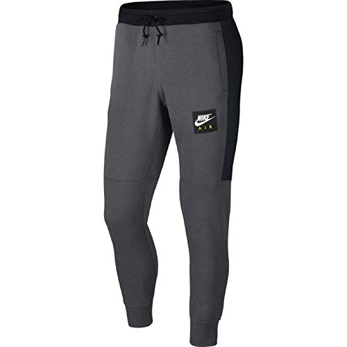 Nike Herren Air Fleece Jogger Hose, Dark Grey/Black/Whit, XL -