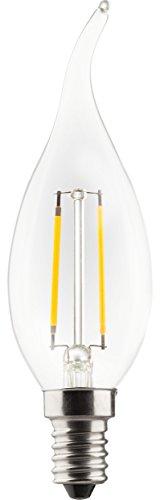 25 Licht-kerzen-kronleuchter (Müller Licht LED 2 Watt Windstoß Lampe KLAR E14 Kerze Filament Faden Glühlampe Glühbirne GLAS)