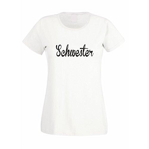 Damen T-Shirt - Schwester weiss-schwarz