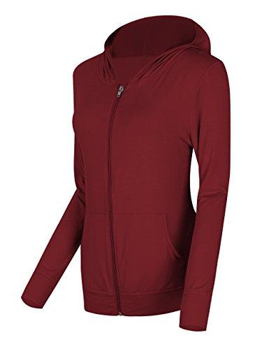 Urban GoCo Donna Felpa con Cappuccio a Cerniera Modal Cotone Giacca Giacchetta con Tasche Vino rosso