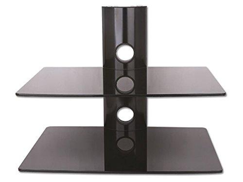 Wandhalterung für BluRay & DVD-Player mit 2 Glas Ablagen und Kabelkanal-System in schwarz - Wandregal für Heimkino für Satelliten Receiver und Konsole mit Glasablage Halterung - GL11BB