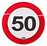 Folat 50. Geburtstag Pappteller Party-Deko 8 Stück Bunt 23cm Einheitsgröße