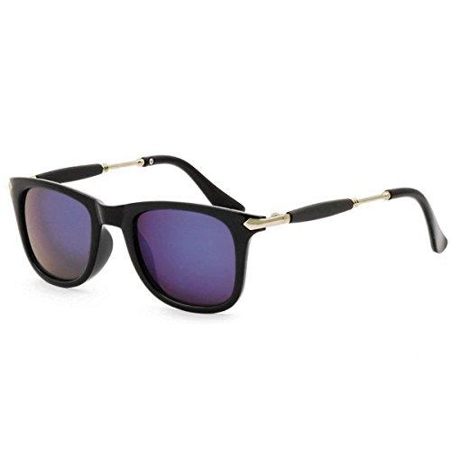 Silver Kartz Blue Mercury Rubber Temple Wayfarer Unisex Sunglasses(Wy-219|55|Blue)