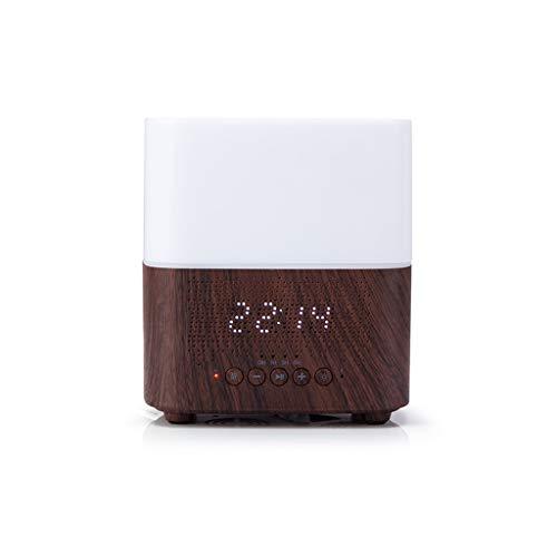 Luftbefeuchter Intelligent Clock Bluetooth Audio Aromatherapie-Maschine Bunte Ultraschallholzmaserung Luftbefeuchter große Kapazitäts-Haus Wohnzimmer Schlafzimmer (Color : Dark Wood Grain)