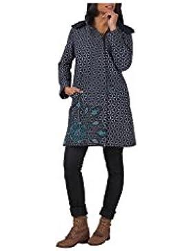 Aller Simplement - Asimétrico con cremallera doble polar 2 algodón manga larga capa bolsillos con capucha desmontable...