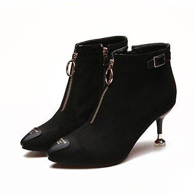 Wuyulunbi@ Scarpe Donna Inverno Combattere Stivali Stivali Stiletto Heel Round Toe Zipper Per Casual Nero,Black,Us8 / Eu39 / Uk6 / Cn39 US5.5 / EU36 / UK3.5 / CN35