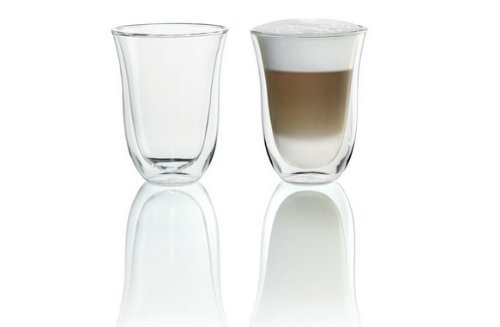 DeLonghi 5513214611Isolierte Latte Macchiato-Glas 2er Set (Delonghi Cafe)